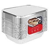 Foil Pans with Lids - 9x13 Aluminum Pans with Covers - 25 Foil Pans and 25 Foil Lids - Disposable Food Containers Great for Baking, Cooking, Heating, Storing, Prepping Food  by Stock Your Home