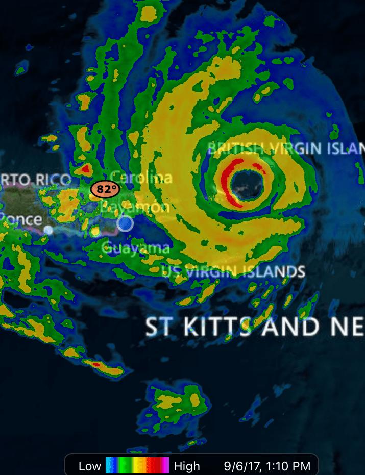 Hurricane Irma eye over BVI