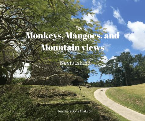 Nevis Island Monkeys, Mangoes, and Mountain views