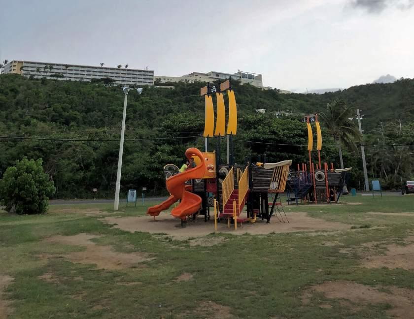 Las Croabas Children's Park, Fajardo Puerto Rico with views of El Conquistador Resort in the background