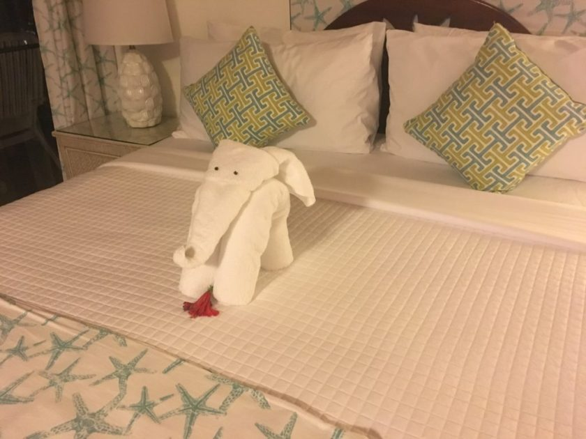 Mount Nevis Hotel Bed Towel shaped like an Elephant
