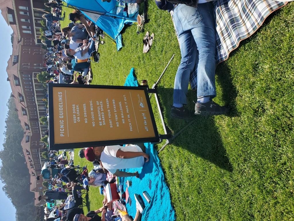 Sunday Picnic Sign at Main Post Lawn in Presidio