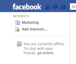 Facebook left menu - Facebook Interest List