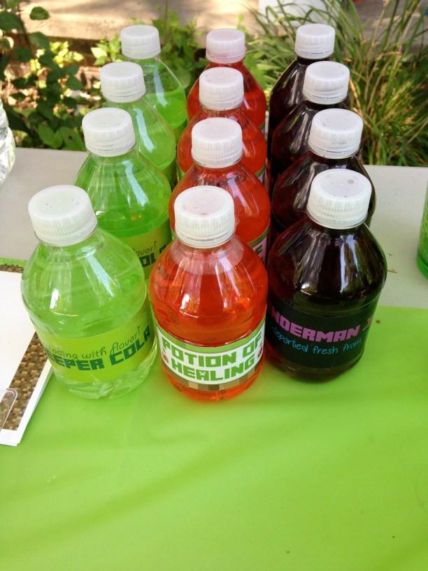 Etiquetas para botellas de agua Minecraft
