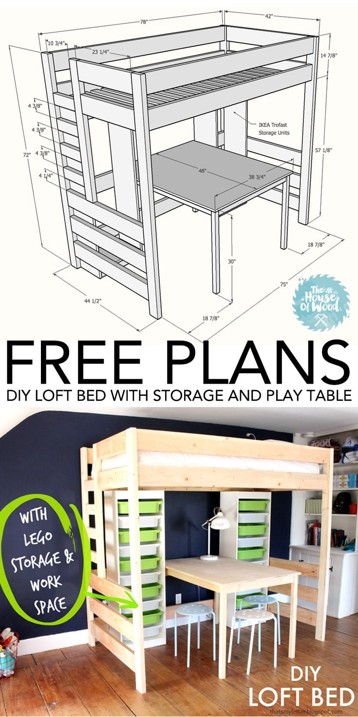 Turned Leg Farmhouse Table Plans Diy Loft Bed With Desk And Storage