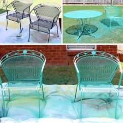 Turquoise Patio Chairs Recliner Chair Covers Nz How To Paint Furniture With Chalk A Wrought Iron Set By Annie Sloan