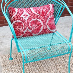 Turquoise Patio Chairs Aluminum Kitchen How To Paint Furniture With Chalk A Wrought Iron Set By Annie Sloan