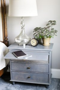 Nightstand w Charging Station & Pullout Writing Tray-DIY ...