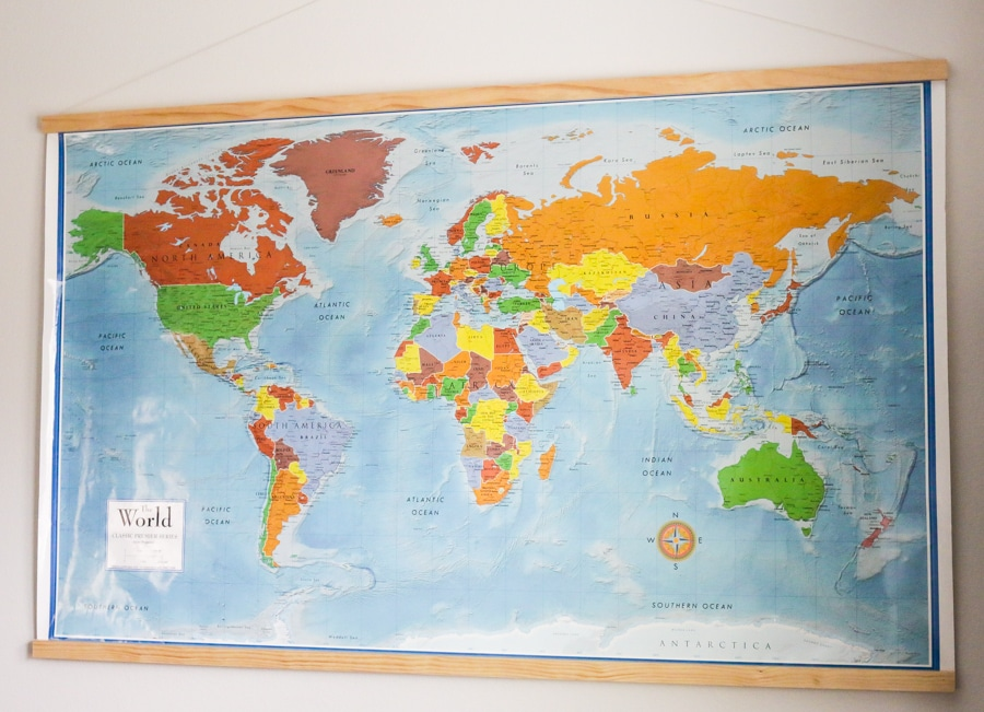DIY Homeschool World Map with Magnetic Frame