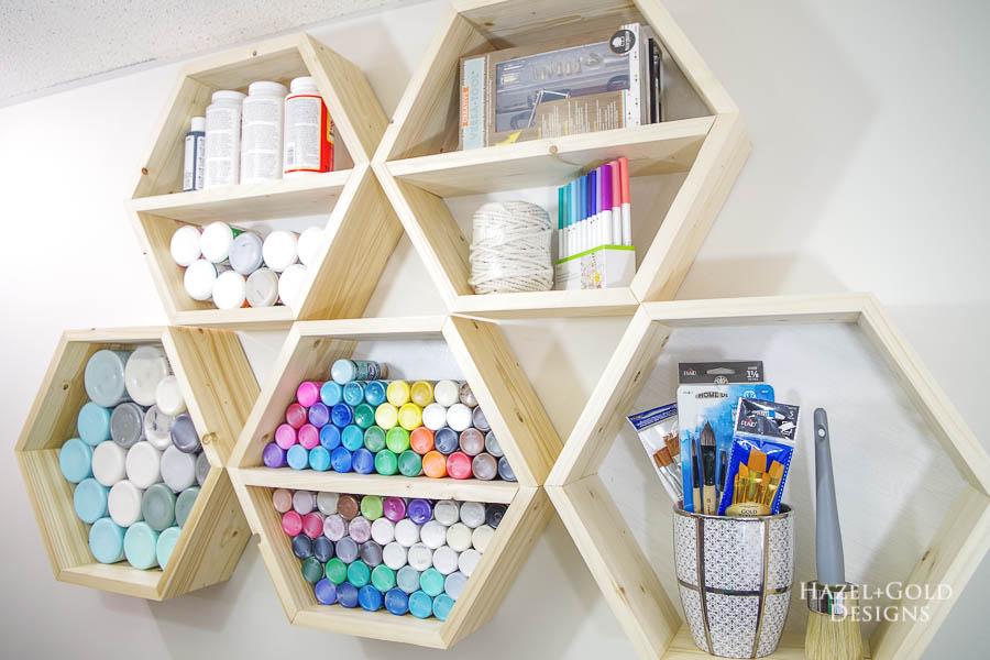 diy hexagon shelves for