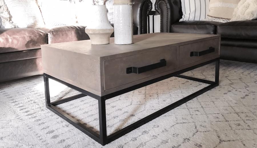 diy wood and steel coffee table tig