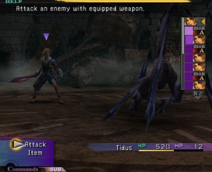 X's battle system, with the turn indicator on the right.