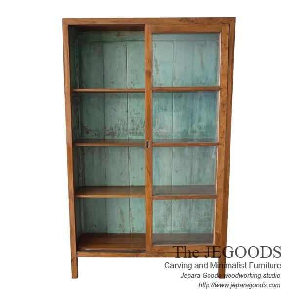Java Cabinet Display 2 Sliding Doors Vintage Paint