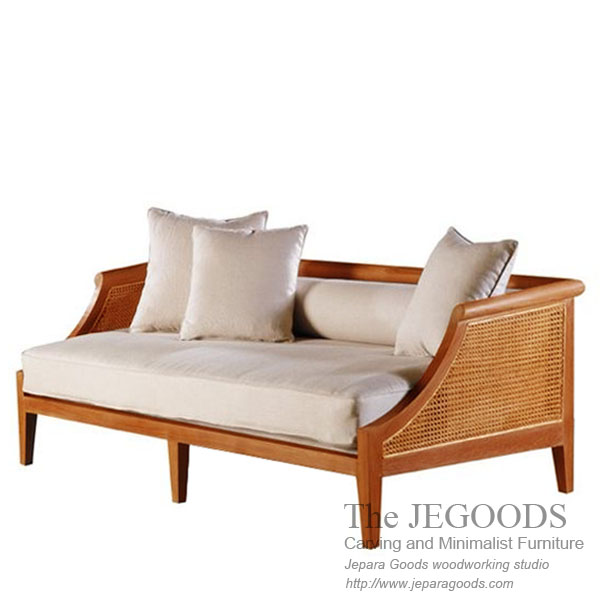 Hotel Teak Bench with Rattan