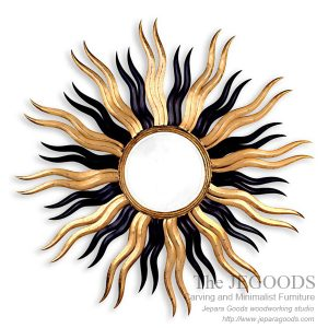Sun Mirror Carved Frame,carving mirror sun,mirror matahari,cermin ukir matahari jepara,model ukir pigura jepara,mebel ukir pigura jepara,finishing antik gilt gold leaf finishing,accessories carving mirror frame