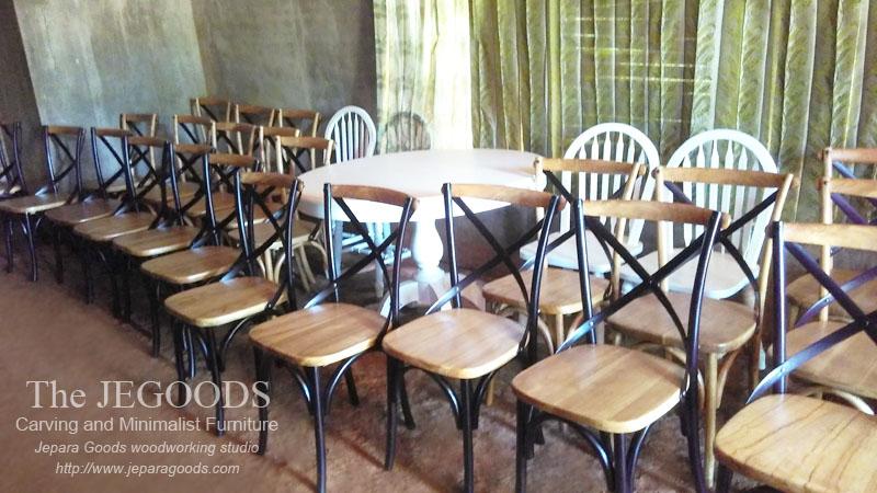 187 Bentwood Teak Cross Back Retro Chair Kursi Silang Cafe
