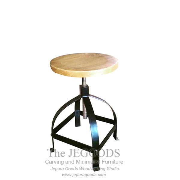 Swivel Stool Iron Wood