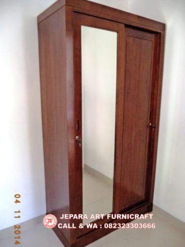Jual Lemari Baju Minimalis Jati Pintu 2 Slide Harga Murah