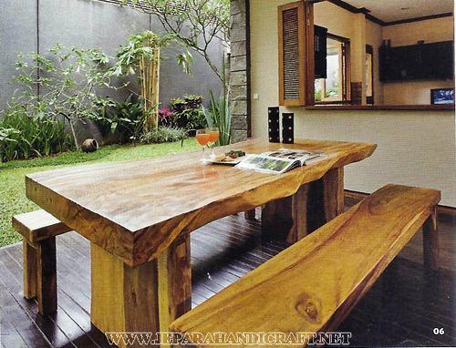 Furniture Meja Solid Trembesi Natural Bangku Kotak Murah