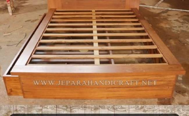 Jual Tempat Tidur Sorong Minimalis Kayu Jati Harga Murah
