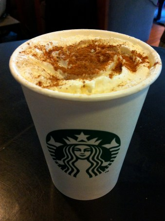 The Pumpkin Spice Latte makes its way to France! (Alright, so it never looks as good as the ads.)