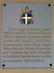 Historical plaque about the post-WWII Polish seminary