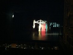 Testing the lighting for the evening's production of Cendrillon