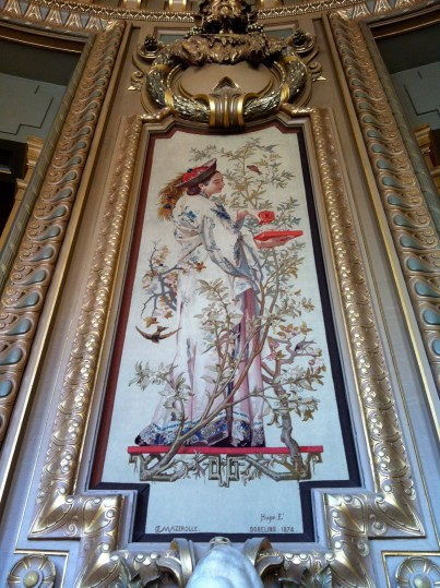 """A tapestry by the renowned tapestry factory, the Gobelins Manufactory, in the Salon du Glacier, depicting """"tea"""""""