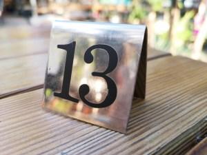 Nombre 13 sur une Table