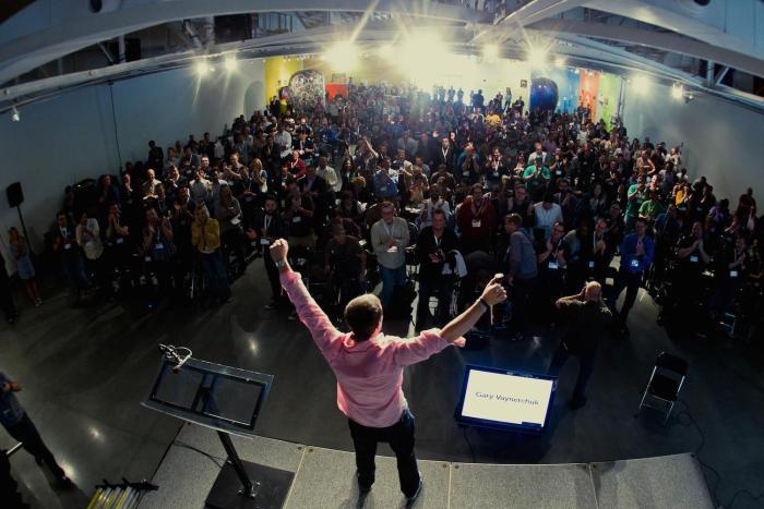 Public speaker on stage