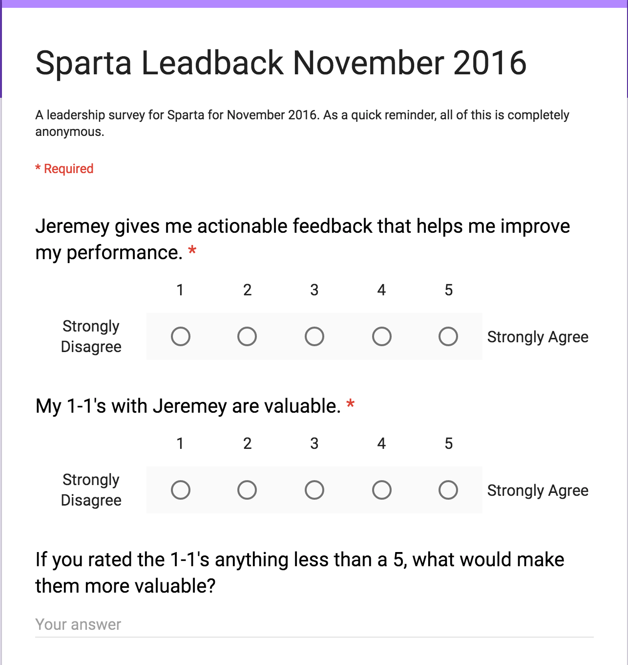 An example of a leadback survey used for Sparta