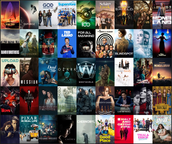 A grid view of all the TV shows I watched this year