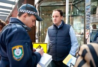 Jeremy talking to police AGL rally