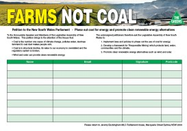 Farms Not Coal petition