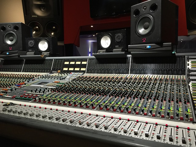 Recording console in an analog studio