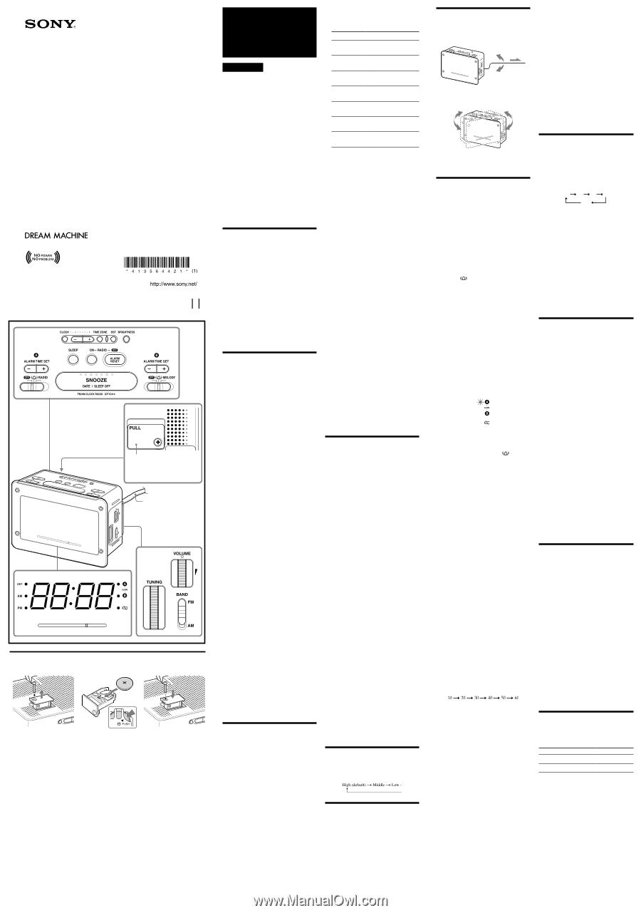 Sony Dream Machine Manual Icf C414