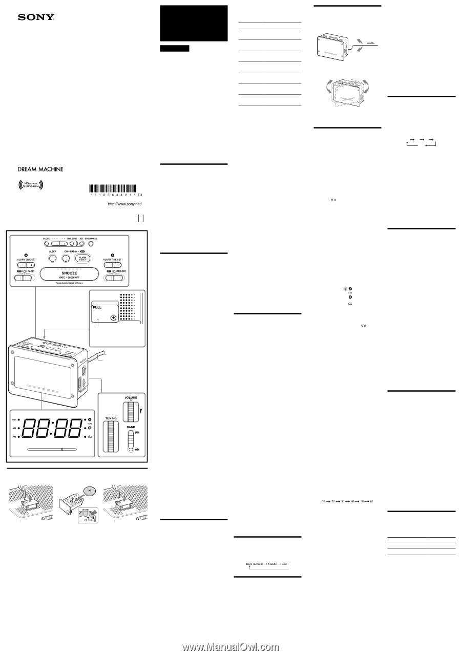 Sony Dream Machine Manual Icf C414