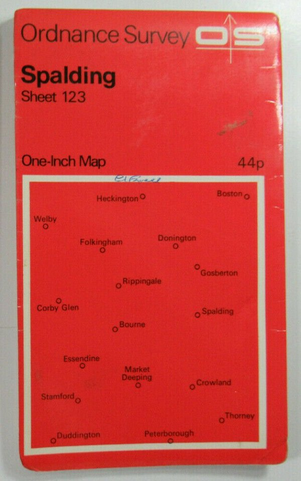 1970 Old OS Ordnance Survey Seventh Series One-Inch Map Sheet 123 Spalding OS One-Inch Seventh Series maps 2