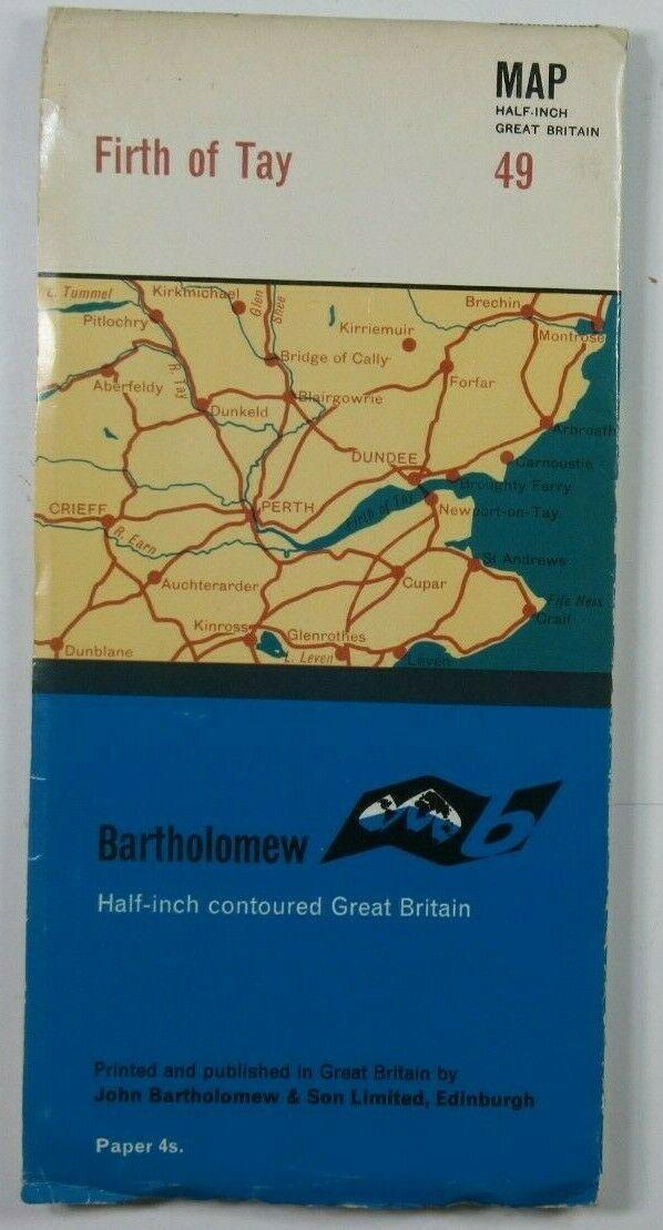 1967 Old Vintage Bartholomew's Half-Inch Map Series Sheet 49 Firth of Tay Bartholomew Maps 2
