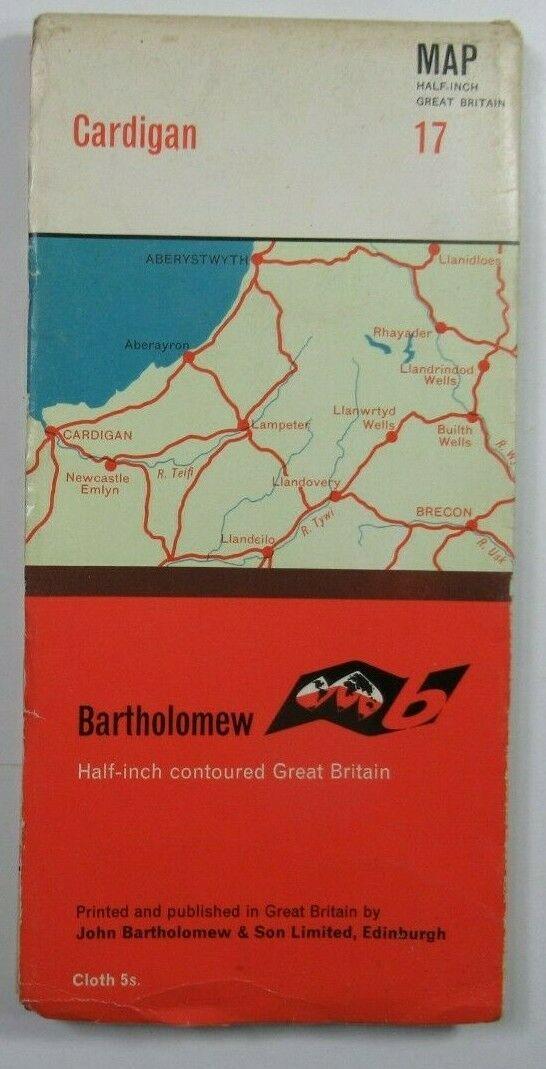 1966 Old Vintage Bartholomew's Half-Inch Countoured CLOTH Map 17 Cardigan Bartholomew Maps 2