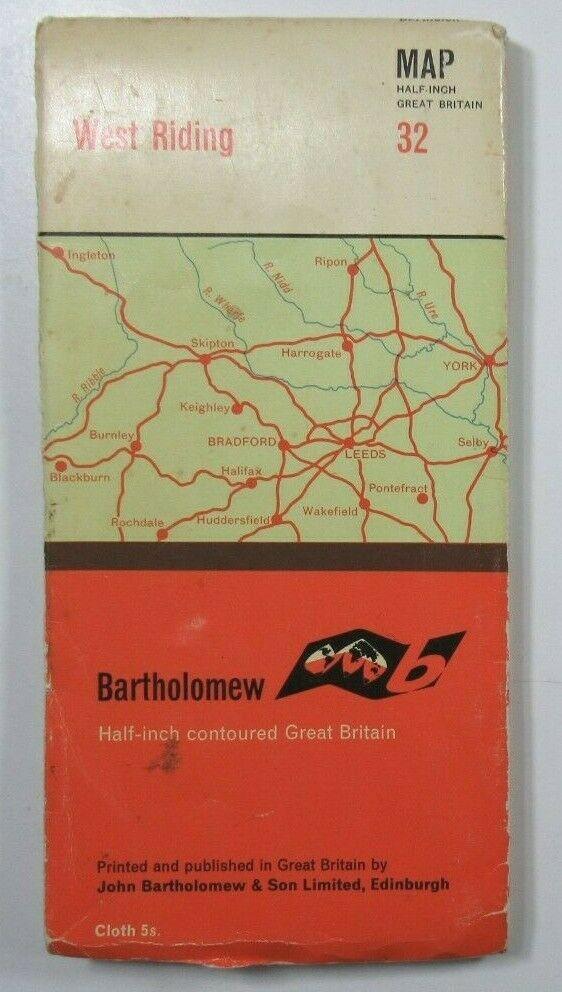 1965 Old Vintage Bartholomew's Half-Inch Countoured CLOTH Map 32 West Riding Bartholomew Maps 2