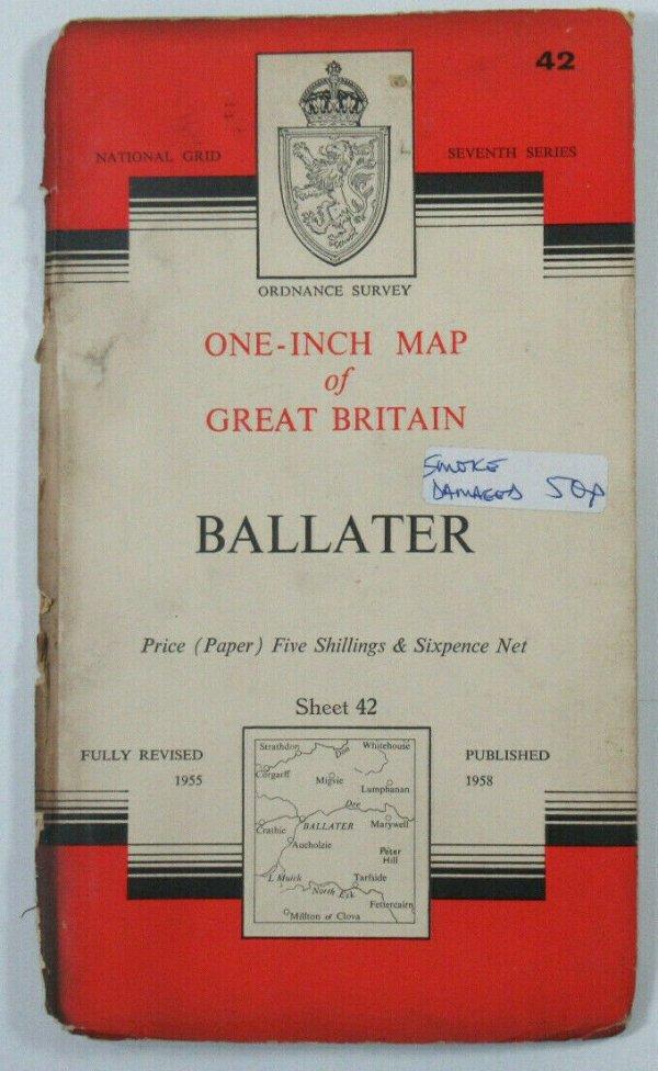 1958 Old Vintage OS Ordnance Survey One-inch Seventh Series Map 42 Ballater OS One-Inch Seventh Series maps 2