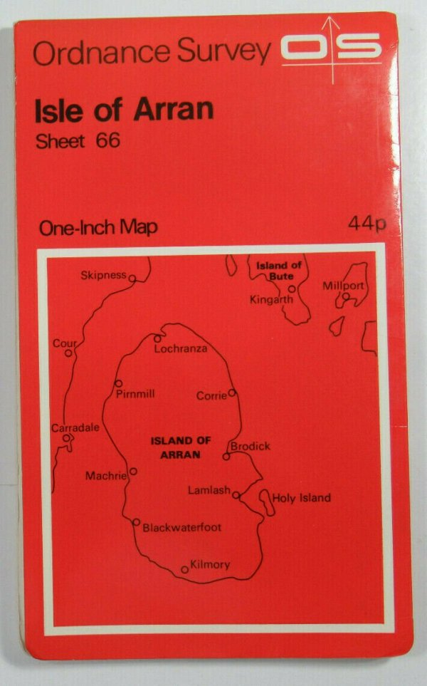 1960 Old Vintage OS Ordnance Survey Seventh Series One-Inch Map 66 Isle of Arran OS One-Inch Seventh Series maps 2
