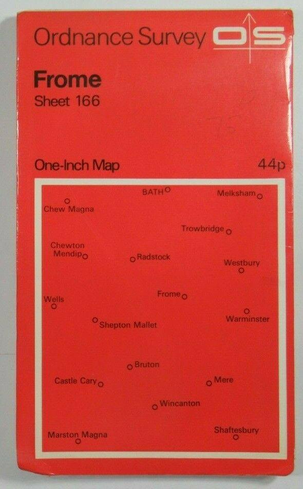 1971 Old Vintage OS Ordnance Survey One-inch Seventh Series Map 166 Frome OS One-Inch Seventh Series maps 2