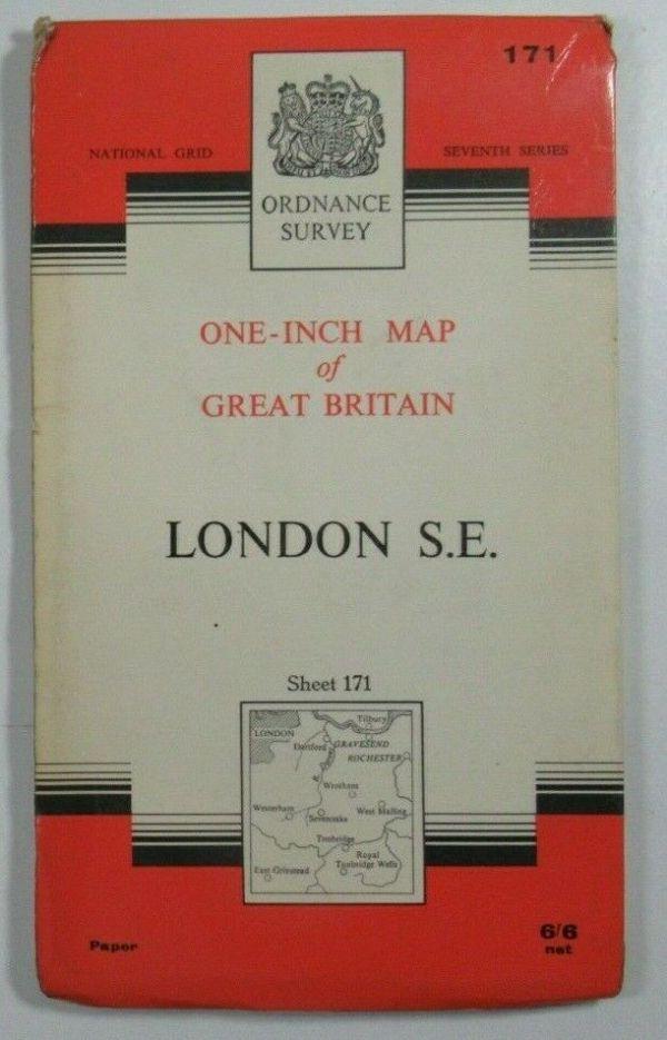 1964 Old Vintage OS Ordnance Survey One-inch Seventh Series Map 171 London S E OS One-Inch Seventh Series maps 2
