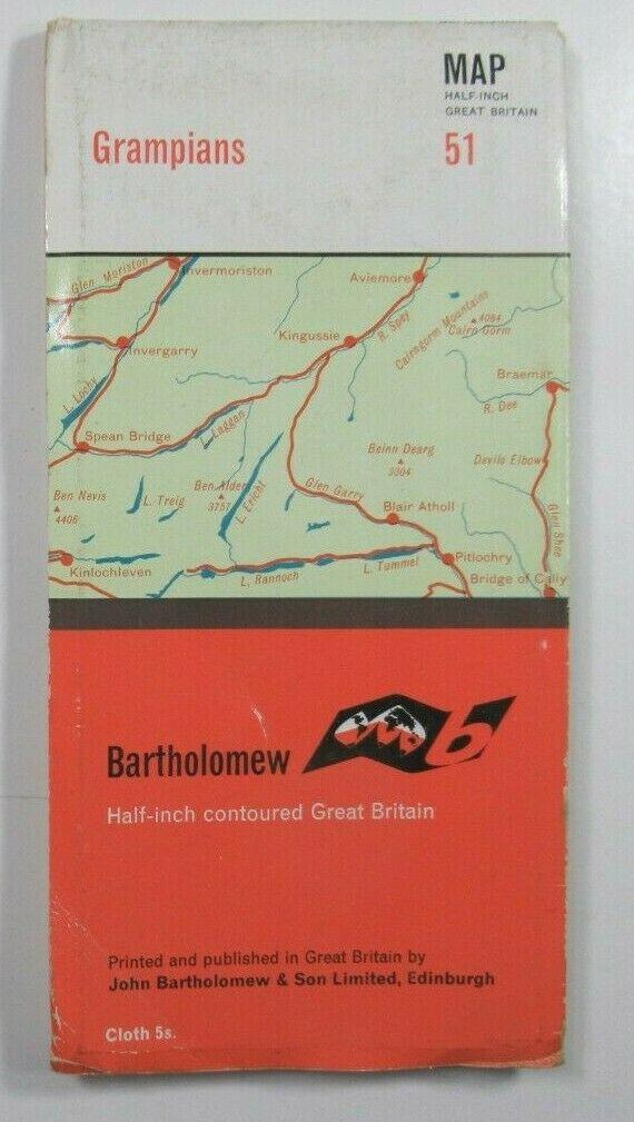 1962 Old Vintage Bartholomew's Half-Inch Countoured CLOTH Map 51 Grampians Bartholomew Maps 2