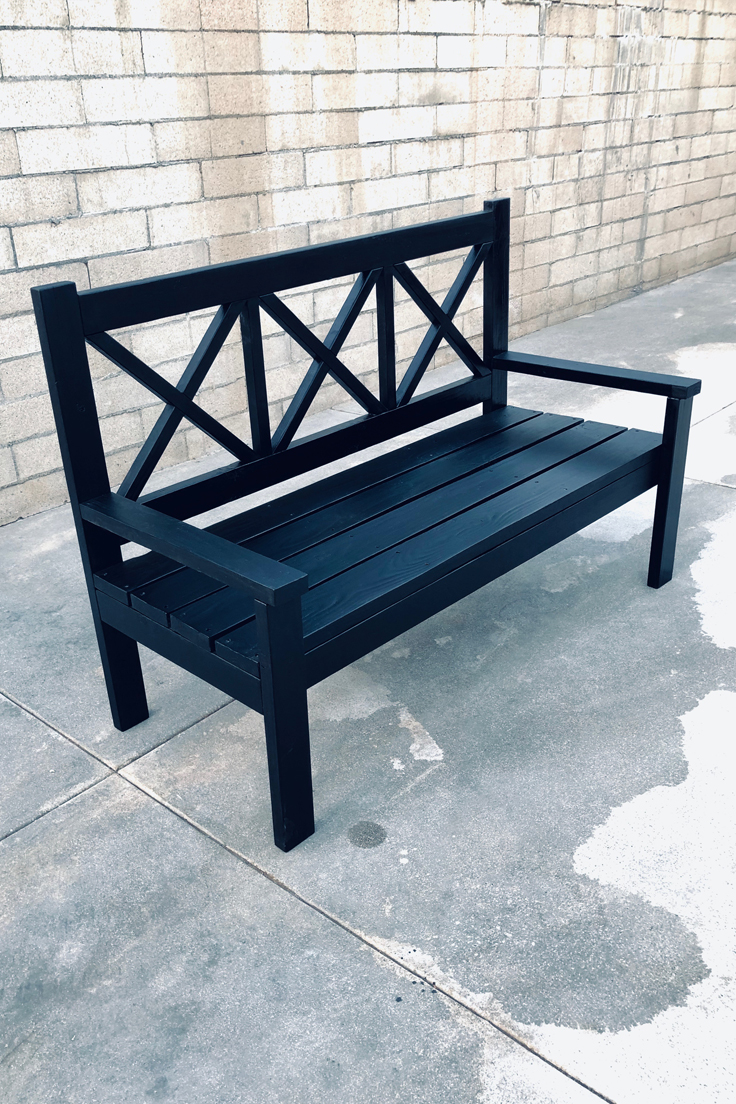 Jeremy Schuler - Woodworking - Rustic Porch Bench finished with a Ebony Oil Stain