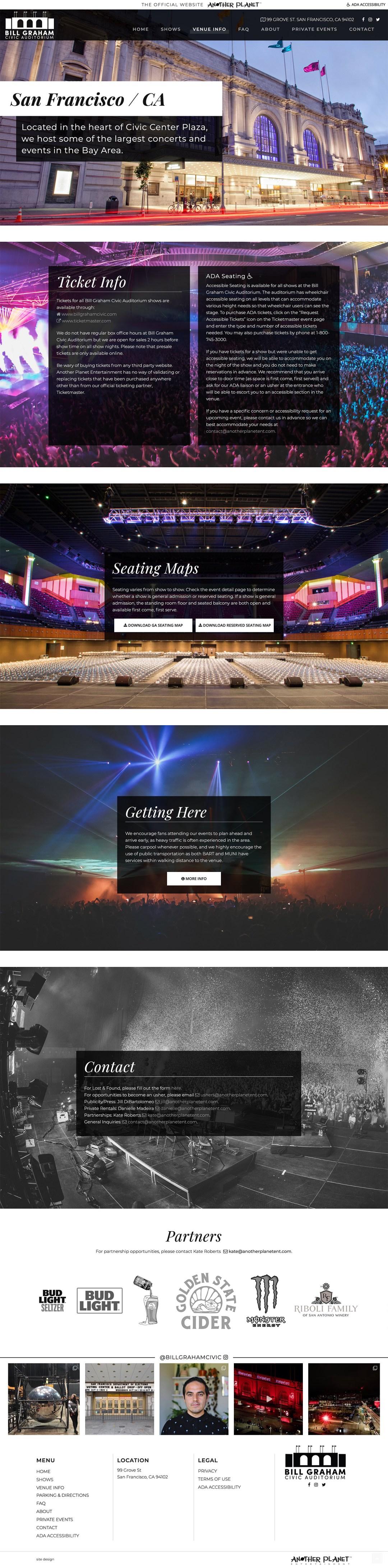 Schuler - Web Design - Bill Graham Civic Auditorium - Venue Info