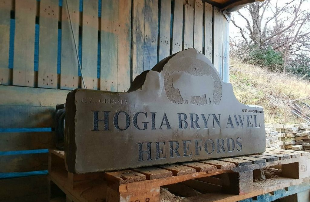 reclaimed stone house sign