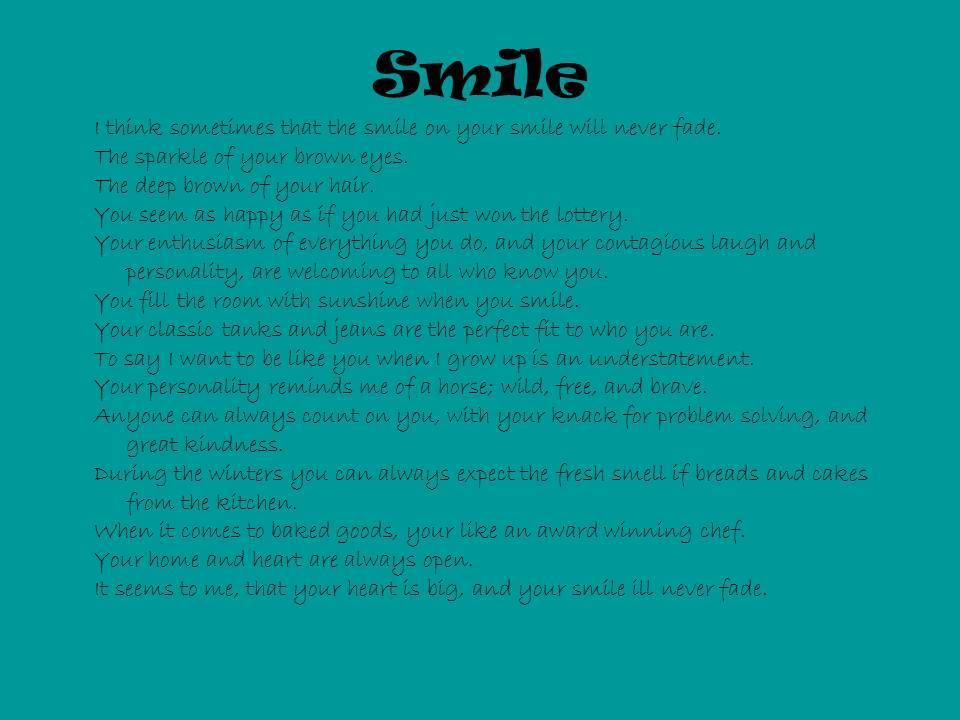 "Image of 15-Sentence Portrait Poem ""Smile"""
